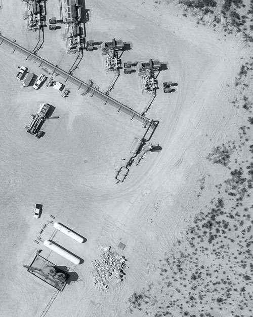 Overhead view of oil field operations